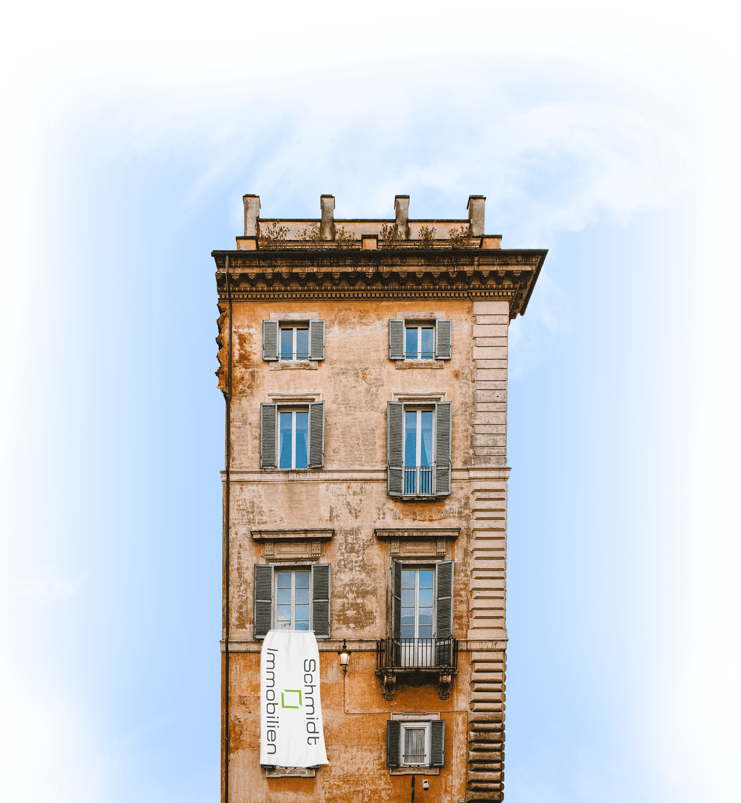 Haus mit Schmidt Banner